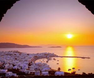 Greece, sunset, and sea image