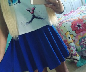 iphone, straight blonde hair, and blue circle skirt image