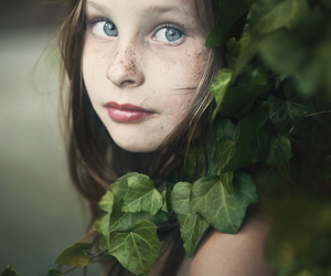 child, girl, and leaves image