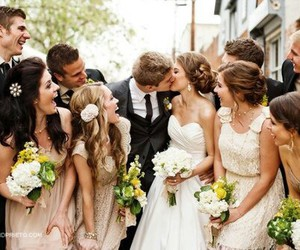 wedding, kiss, and bride image