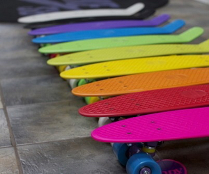 skate, penny, and rainbow image