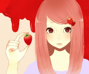 strawberry, girl, and red image