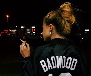 girl, smoke, and badwood image