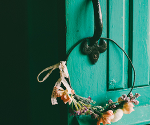 door, flower, and ribbon image