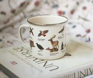 cup, book, and vintage image