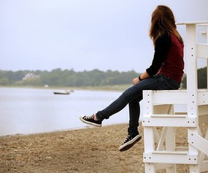 girl, beach, and alone image