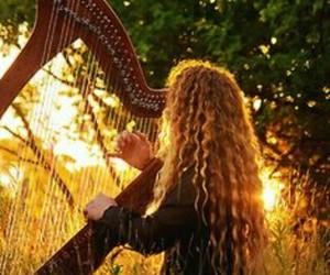 girl, harp, and music image