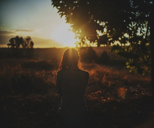 field, girl, and landscape image