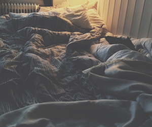 autumn, bed, and blue image