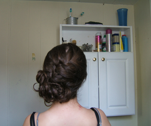 hair, updo, and braid image