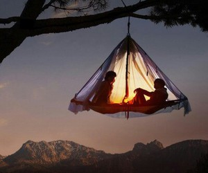 couple, tree, and tent image