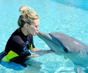 dolphin, Hilary Duff, and kiss image