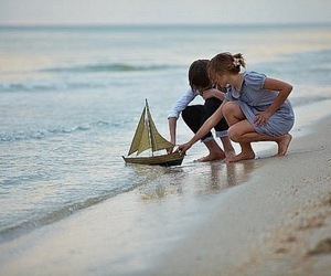 couple, boy, and beach image