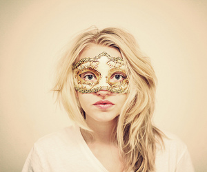 girl, blonde, and mask image