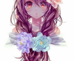 anime, art, and curly hair image