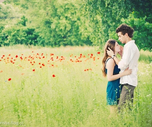flowers, girl, and guy image