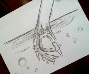 dibujo, hand, and pencil image