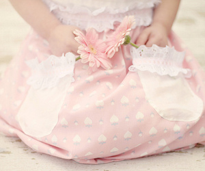 pink, flowers, and baby image
