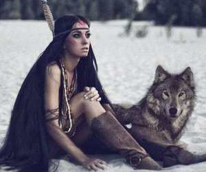 wolf, snow, and indian image