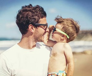 baby, beach, and father image