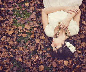 girl, autumn, and flowers image