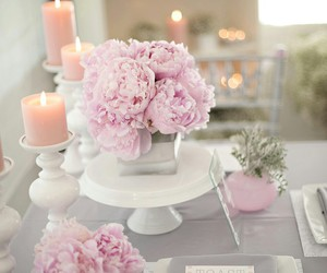 flowers, candle, and pink image