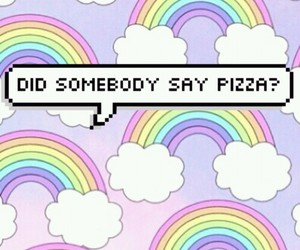 pizza, rainbow, and wallpaper image