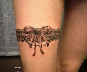 lace, ribbon, and tattoo image