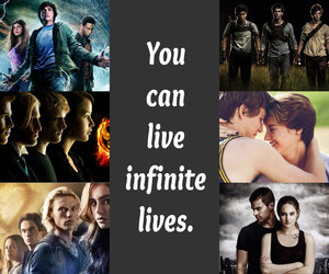 hunger games, percy jackson, and divergent image