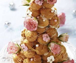 dessert, flowers, and croquembouche image