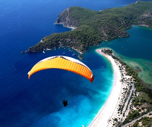 nature, turkey, and paragliding image