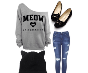 cat, fashion, and meow image