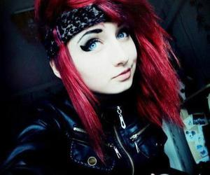 emo, hair, and red image