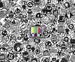 black and white, tv, and art image
