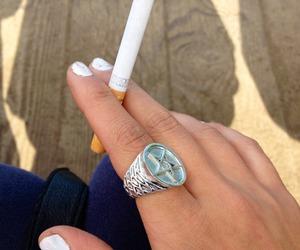 cigarette, fashion, and smoke image
