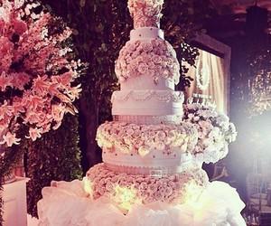 cake, wedding, and flowers image