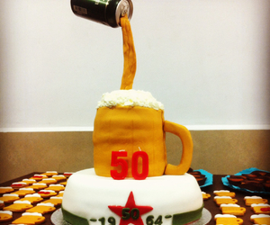 beer, birthday, and cake image