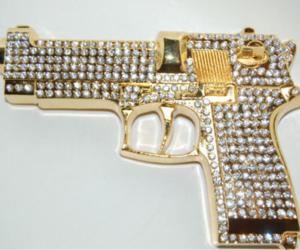 gun, diamond, and gold image