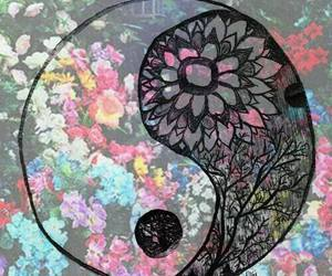 flowers, ying yang, and hipster image