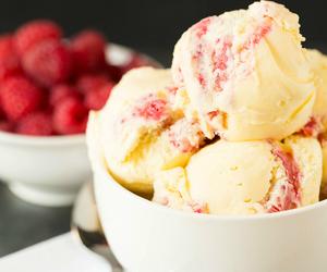 ice cream, food, and raspberry image