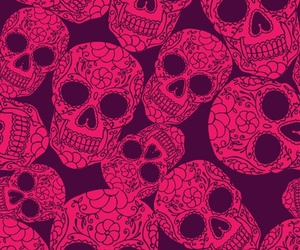 skull, pink, and wallpaper image