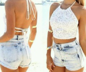 beach, fashion, and white top image