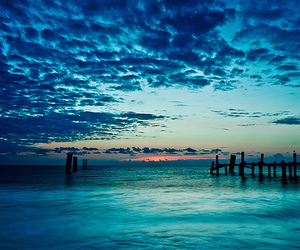 blue, ocean, and sunset image