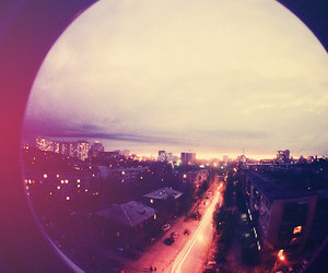 lights, sunset, and traffic image
