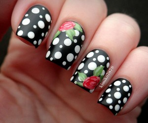 nails, nail art, and rose image