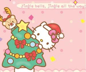 christmas tree, kitty, and hello kitty image