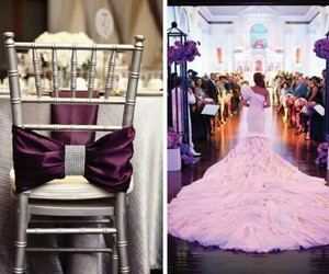 wedding dress, wedding decorating ideas, and purple wedding palette image