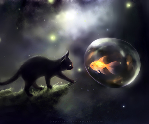black, cat, and painting image