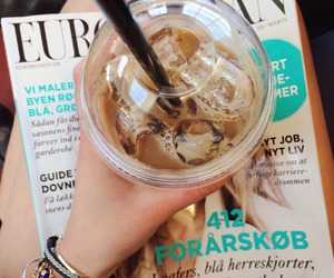 magazine, coffee, and drink image