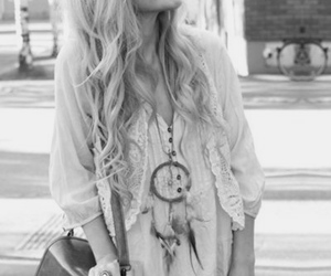 black & white, blonde, and hair image